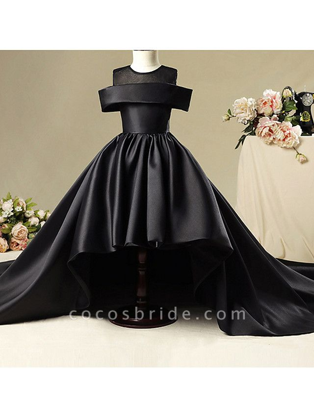 A-Line Sweep / Brush Train Pageant Flower Girl Dresses - Polyester Short Sleeve Jewel Neck With Ruching