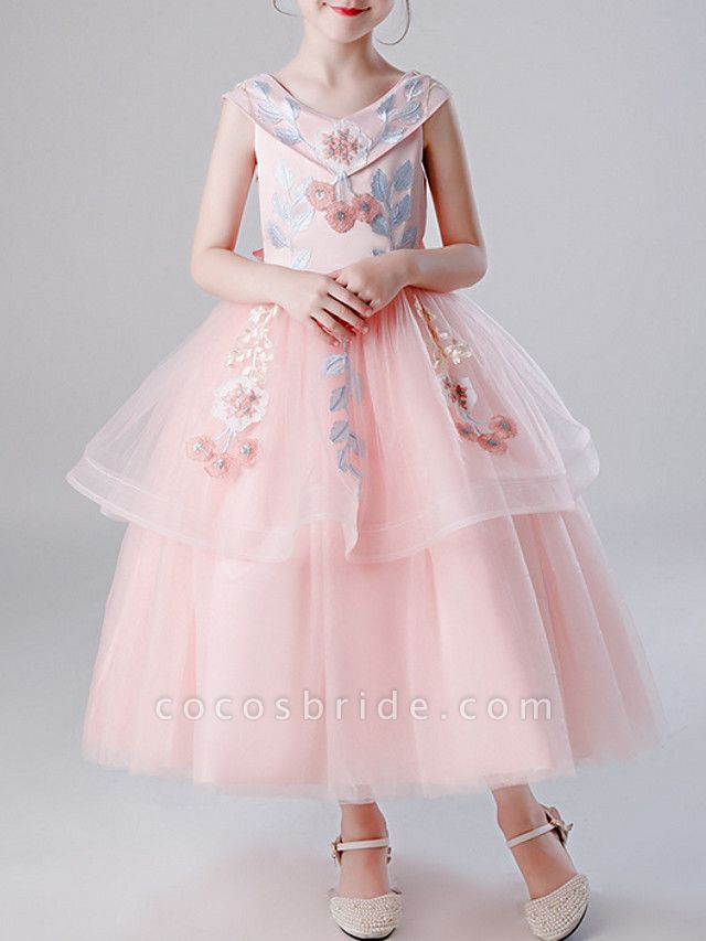 A-Line Ankle Length Pageant Flower Girl Dresses - Tulle Sleeveless V Neck With Bow(S) / Tier / Embroidery