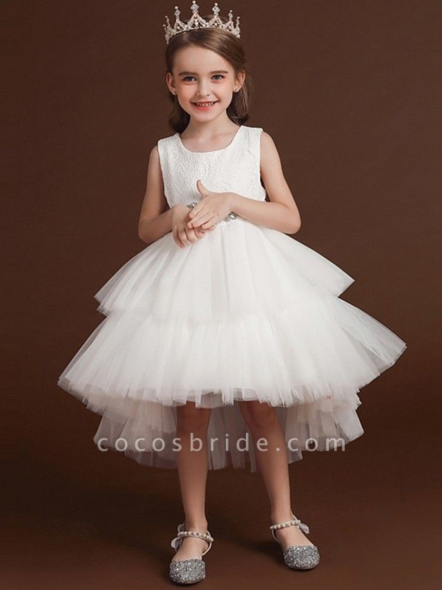 Princess / Ball Gown Asymmetrical Wedding / Party Flower Girl Dresses - Lace / Tulle Sleeveless Jewel Neck With Belt / Bow(S) / Tier