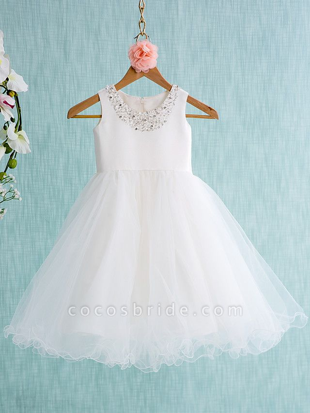 Ball Gown Knee Length Wedding / First Communion Flower Girl Dresses - Satin / Tulle Sleeveless Jewel Neck With Bow(S) / Beading