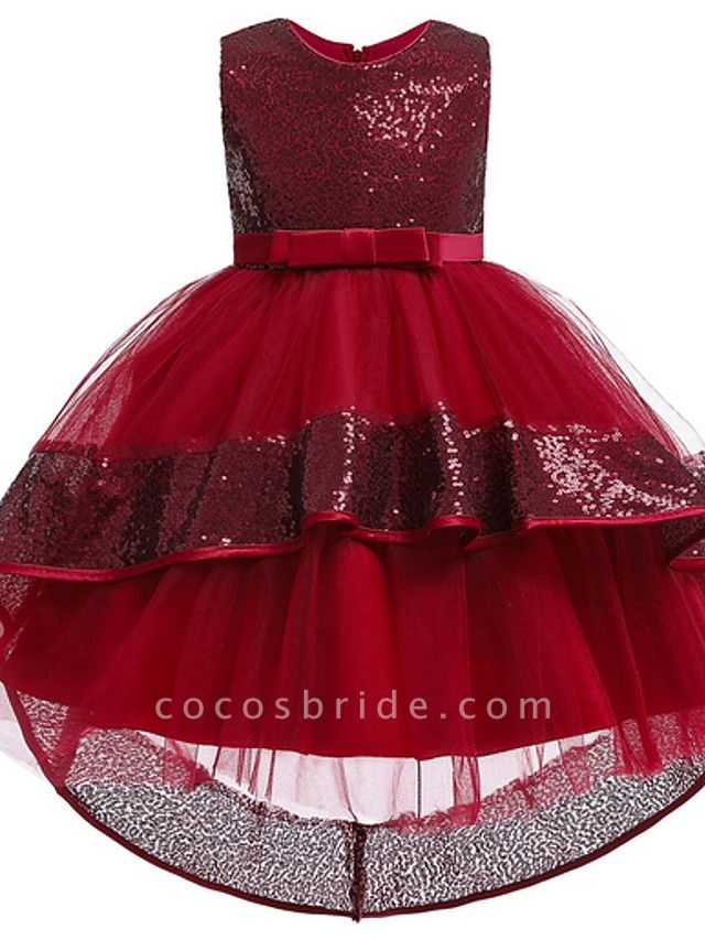 Ball Gown Ankle Length Pageant Flower Girl Dresses - Polyester Sleeveless Jewel Neck With Bow(S) / Appliques