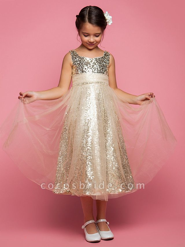 Princess / A-Line Tea Length Tulle Sleeveless Jewel Neck With Ruched / Sequin