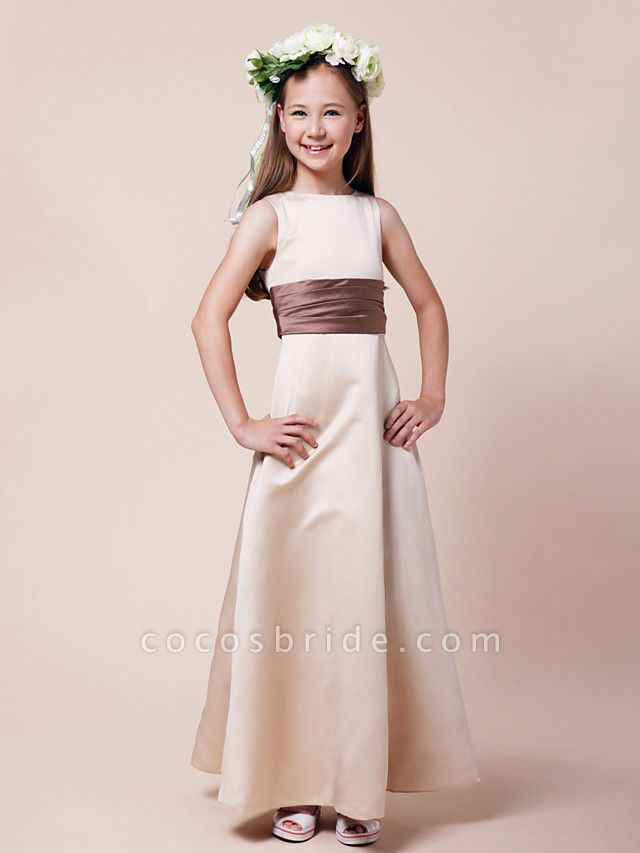 Princess / A-Line Bateau Neck Floor Length Satin Junior Bridesmaid Dress With Sash / Ribbon / Ruched / Spring / Summer / Fall / Winter / Apple