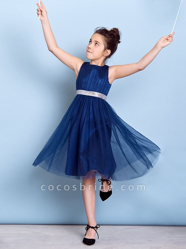 A-Line Jewel Neck Knee Length Tulle Junior Bridesmaid Dress With Sash / Ribbon / Sequin / Draping / Natural