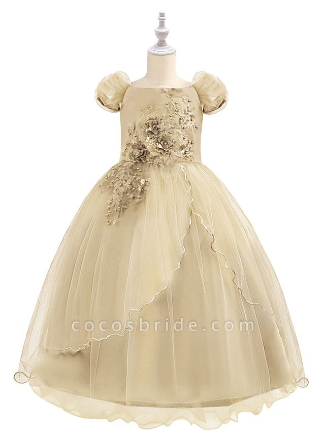Princess Maxi Birthday / Pageant Flower Girl Dresses - Chiffon / Tulle Short Sleeve Boat Neck With Beading / Appliques / Paillette