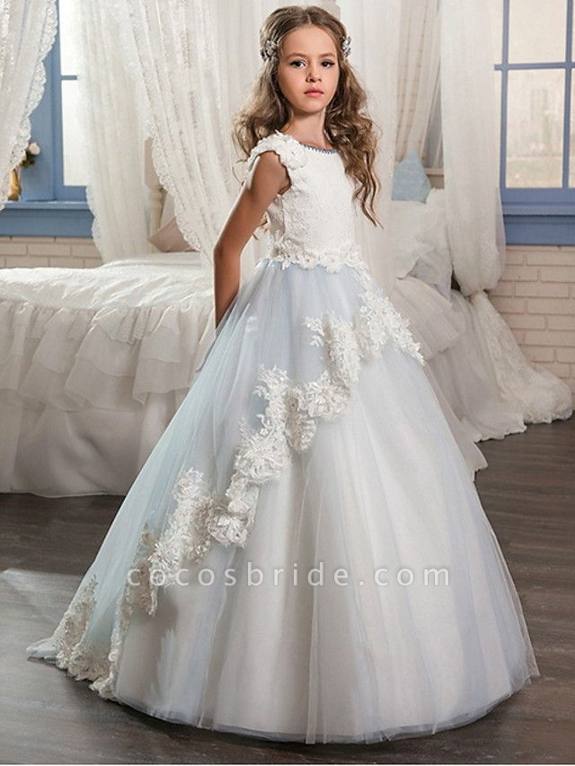 Ball Gown Floor Length Wedding / Event / Party Flower Girl Dresses - Poly Sleeveless Jewel Neck With Lace / Appliques