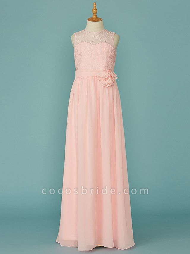 A-Line Jewel Neck Floor Length Chiffon / Lace Junior Bridesmaid Dress With Lace / Sash / Ribbon