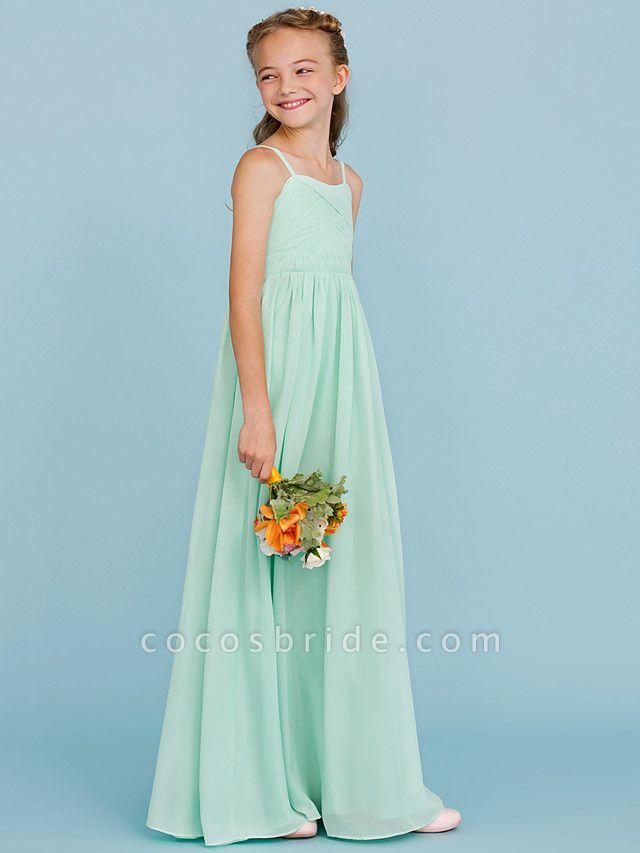 Princess / A-Line Spaghetti Strap Floor Length Chiffon Junior Bridesmaid Dress With Criss Cross / Pleats / Wedding Party / Open Back