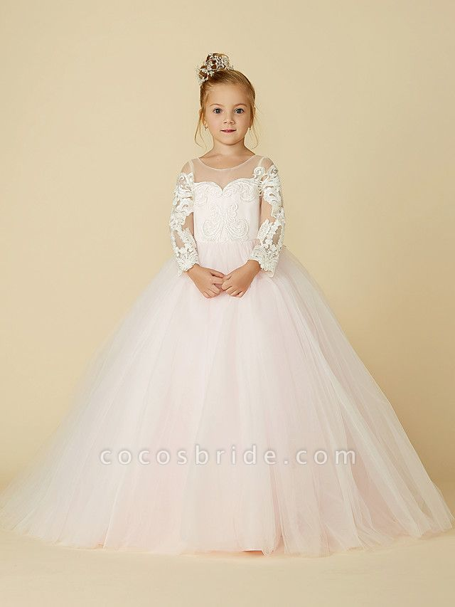 Ball Gown Court Train Wedding / Party / Pageant Flower Girl Dresses - Lace / Tulle Long Sleeve Illusion Neck With Bows / Bow(S) / Buttons