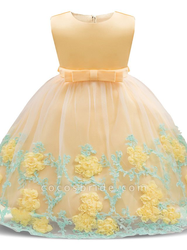 Princess Long Length Wedding / Party / Pageant Flower Girl Dresses - Satin / Tulle Sleeveless Jewel Neck With Petal / Bow(S) / Appliques