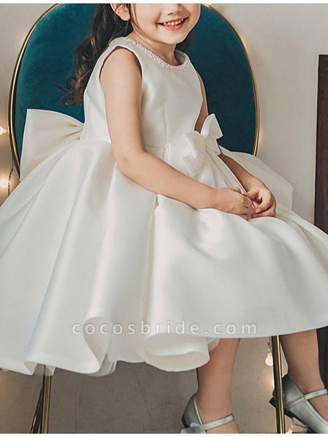 Princess / Ball Gown Tea Length Wedding / Party Flower Girl Dresses - Satin Sleeveless Jewel Neck With Bow(S) / Pleats