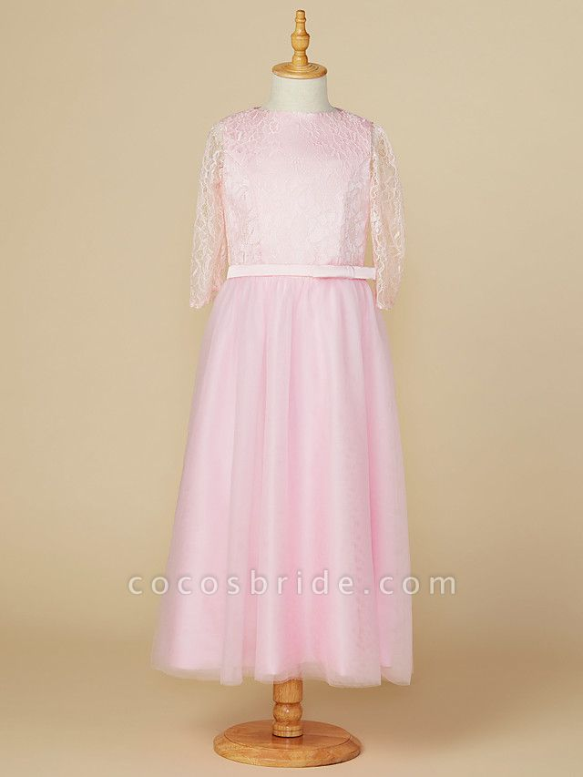 A-Line Jewel Neck Tea Length Lace / Tulle Junior Bridesmaid Dress With Bow(S) / Wedding Party