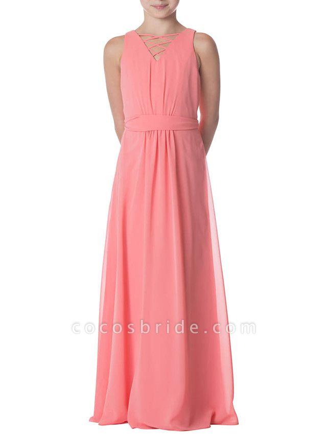 Sheath / Column Jewel Neck Floor Length Chiffon Junior Bridesmaid Dress With Pleats / Bandage