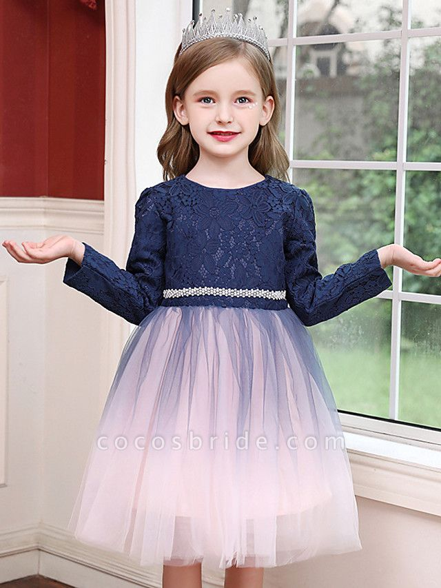 Princess / Ball Gown Tea Length Wedding / Party Flower Girl Dresses - Tulle Long Sleeve Jewel Neck With Crystals / Splicing