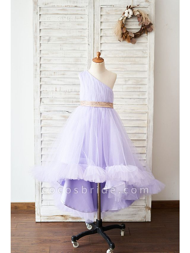 Ball Gown Asymmetrical Wedding / Birthday Flower Girl Dresses - Tulle Sleeveless One Shoulder With Belt