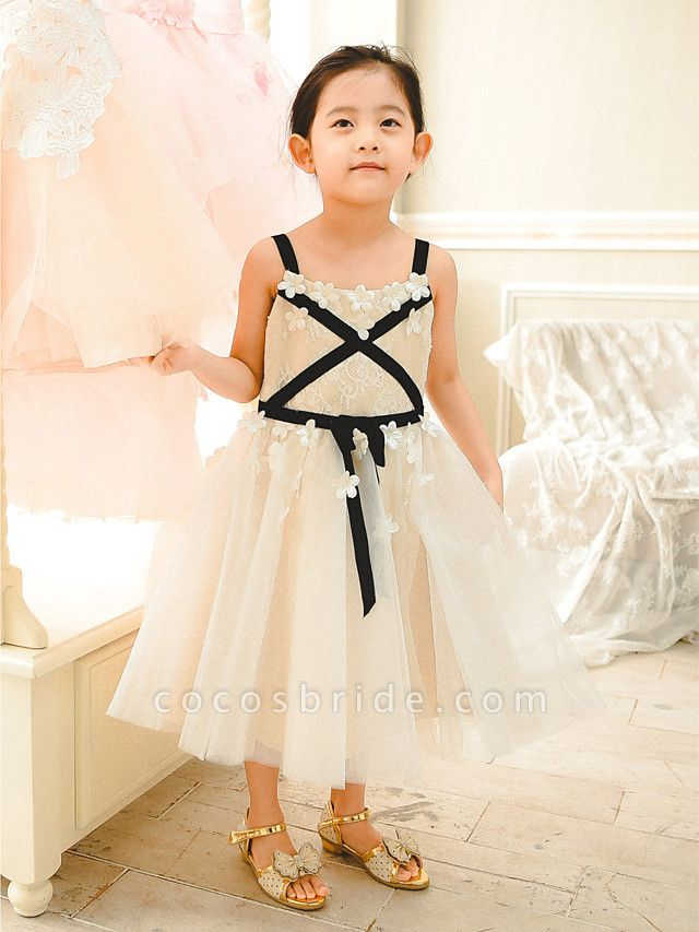 Ball Gown Tea Length Wedding / Birthday / Pageant Flower Girl Dresses - Lace / Tulle Sleeveless Spaghetti Strap With Sash / Ribbon
