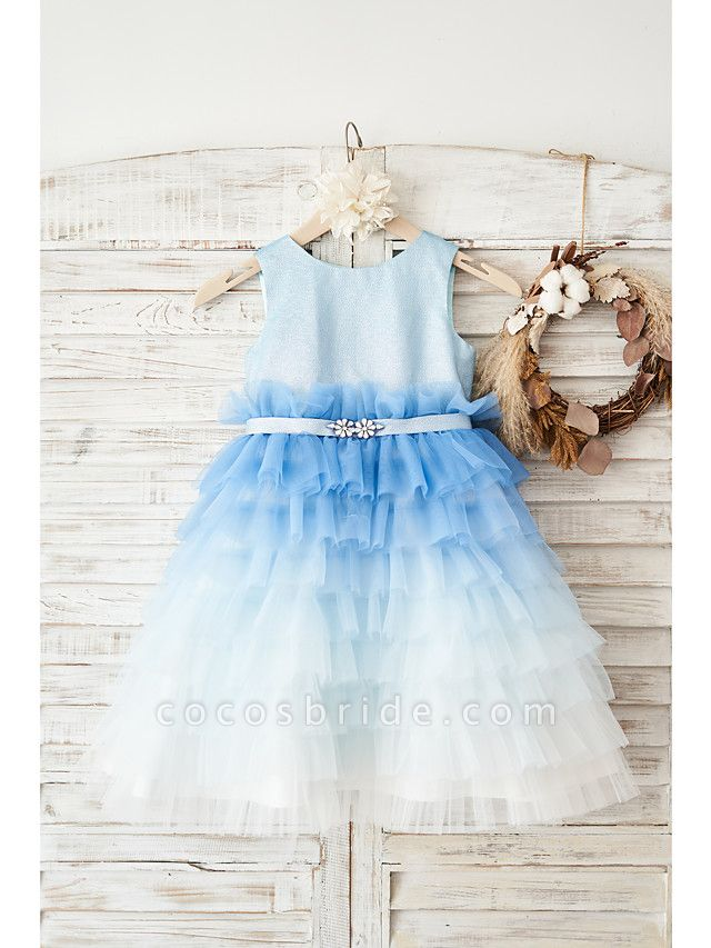 Ball Gown Knee Length Wedding / Birthday Flower Girl Dresses - Tulle Sleeveless Jewel Neck With Belt / Crystals
