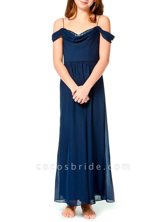 A-Line Spaghetti Strap Ankle Length Chiffon Junior Bridesmaid Dress With Pleats