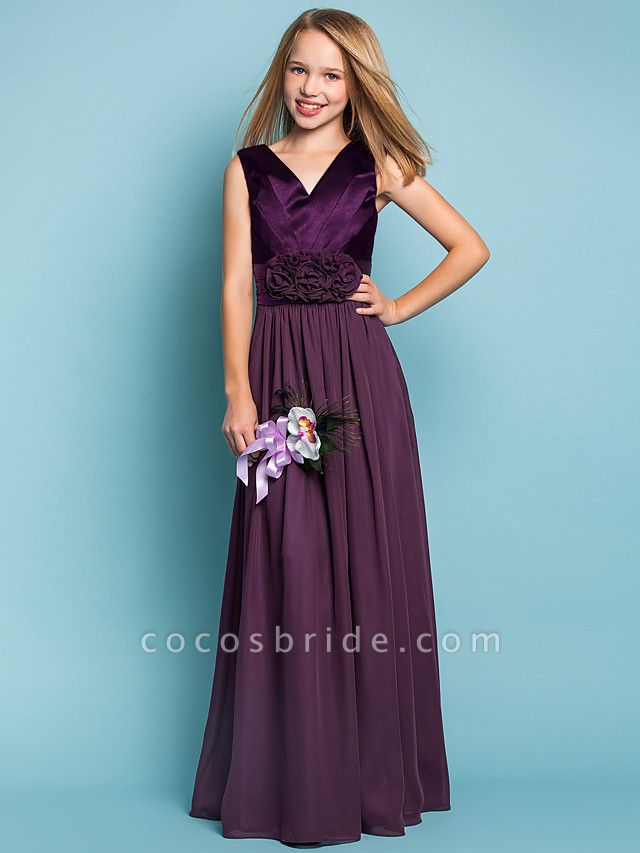 Sheath / Column V Neck Floor Length Chiffon Junior Bridesmaid Dress With Flower / Spring / Summer / Fall / Apple / Hourglass