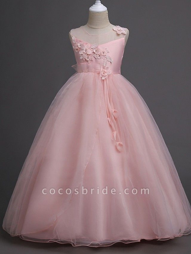 Princess / Ball Gown Floor Length Wedding / Party Flower Girl Dresses - Tulle Sleeveless Illusion Neck With Bow(S) / Appliques