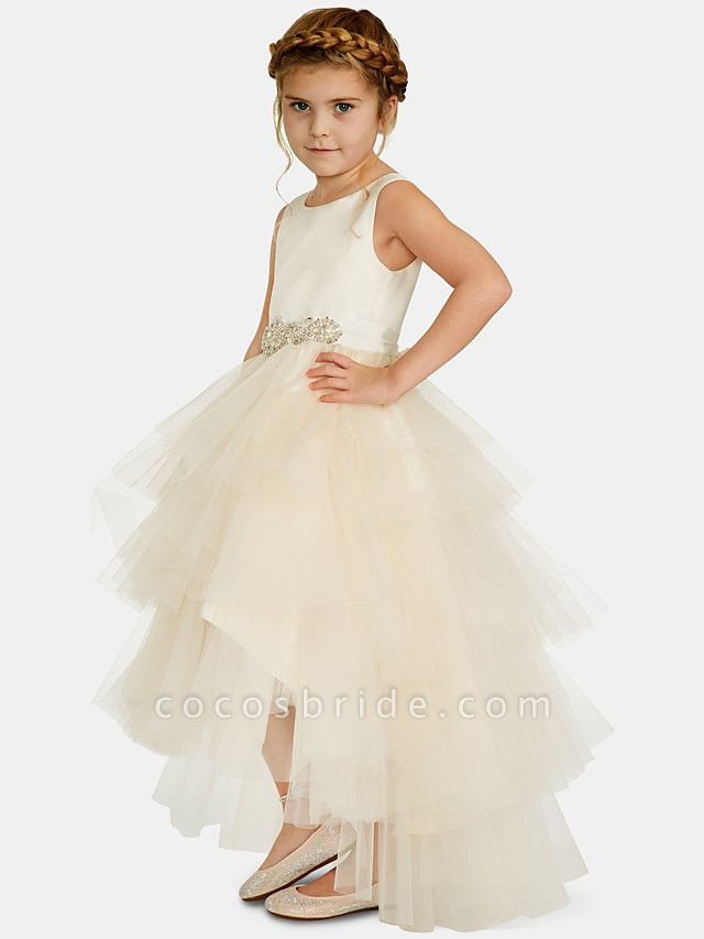 Ball Gown Asymmetrical Wedding / Party Flower Girl Dresses - Satin / Tulle Sleeveless Jewel Neck With Pleats / Tier / Solid