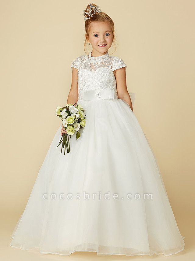 Ball Gown Floor Length Wedding / First Communion Flower Girl Dresses - Lace / Tulle Short Sleeve High Neck With Lace / Sash / Ribbon / Bow(S)