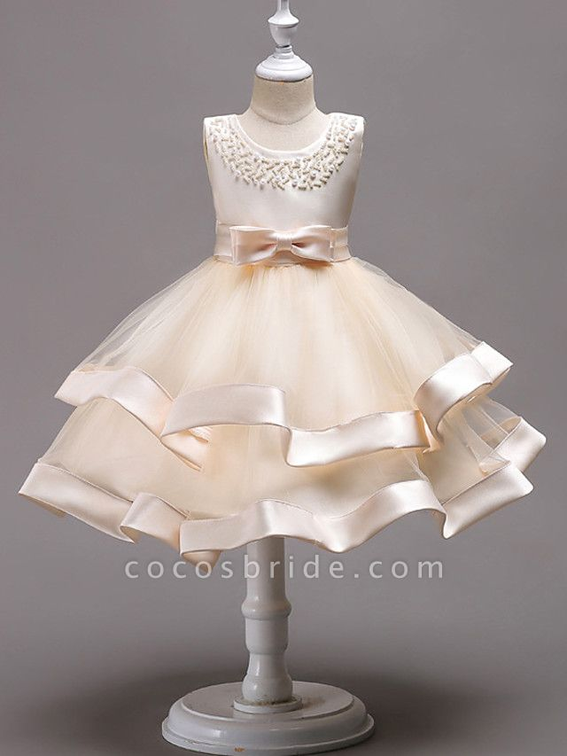 Princess Knee Length Wedding / First Communion / Pageant Flower Girl Dresses - 100% Polyester Sleeveless Jewel Neck With Faux Pearl / Bow(S) / Beading