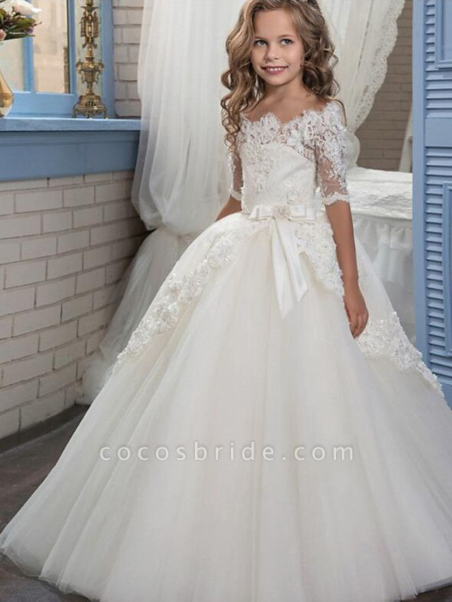 Ball Gown Floor Length Christmas / Wedding / Pageant Flower Girl Dresses - Cotton / Nylon With A Hint Of Stretch / Organza / Tulle Half Sleeve Boat Neck With Lace / Bow(S) / Appliques
