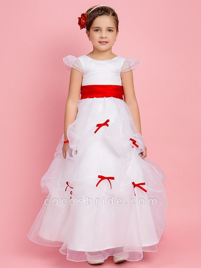 Princess / Ball Gown / A-Line Floor Length First Communion / Wedding Party Organza Short Sleeve Jewel Neck With Pick Up Skirt / Sash / Ribbon / Bow(S) / Spring / Fall / Winter
