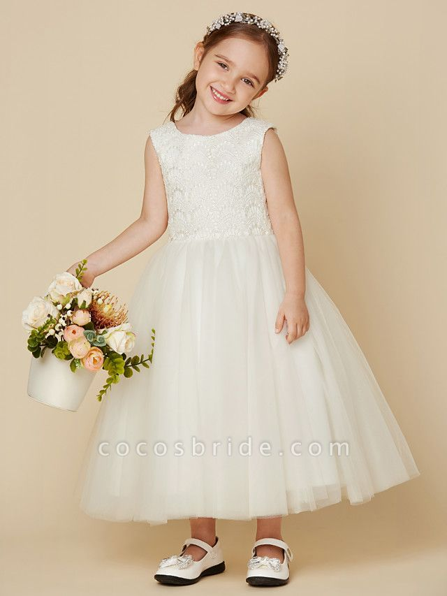 Princess Knee Length Wedding / First Communion Flower Girl Dresses - Lace / Satin / Tulle Sleeveless Jewel Neck With Lace
