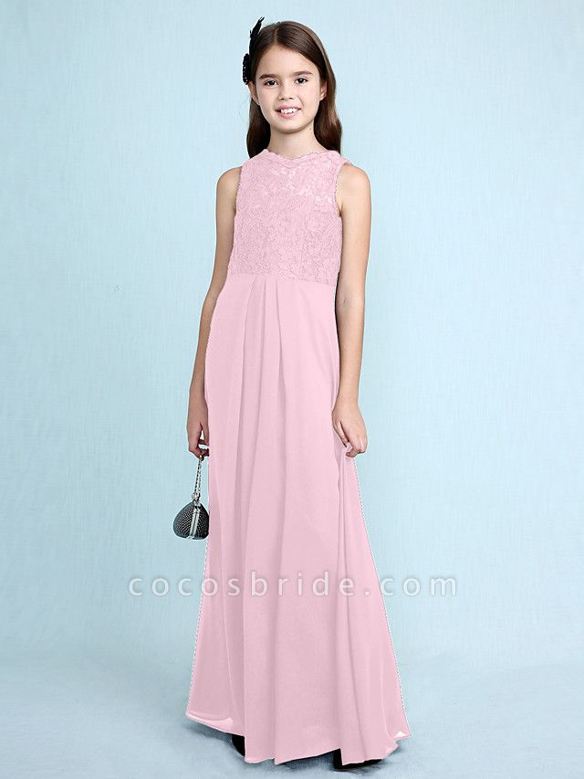 Sheath / Column Scoop Neck Floor Length Chiffon / Lace Junior Bridesmaid Dress With Lace / Natural