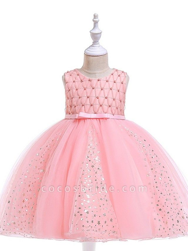 Princess / Ball Gown Knee Length Wedding / Party Flower Girl Dresses - Tulle Sleeveless Jewel Neck With Sash / Ribbon / Beading / Appliques