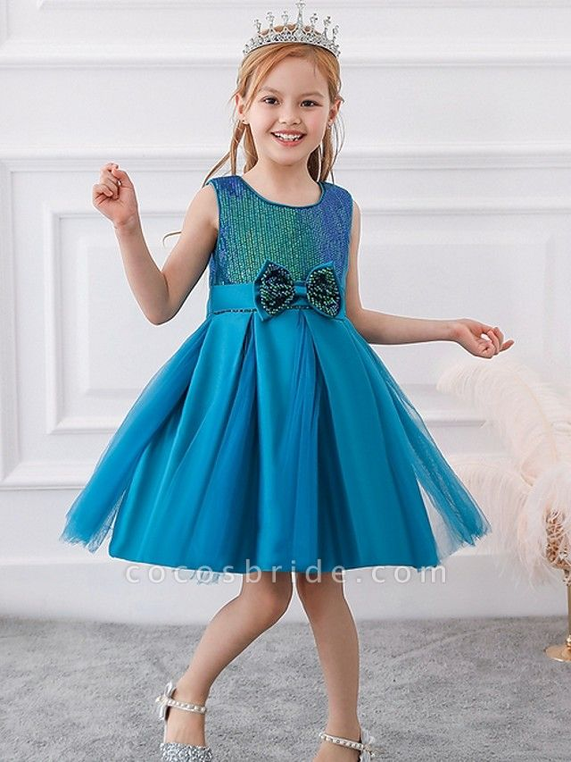 Princess / Ball Gown Knee Length Wedding / Party Flower Girl Dresses - Tulle Sleeveless Jewel Neck With Sash / Ribbon / Bow(S) / Paillette