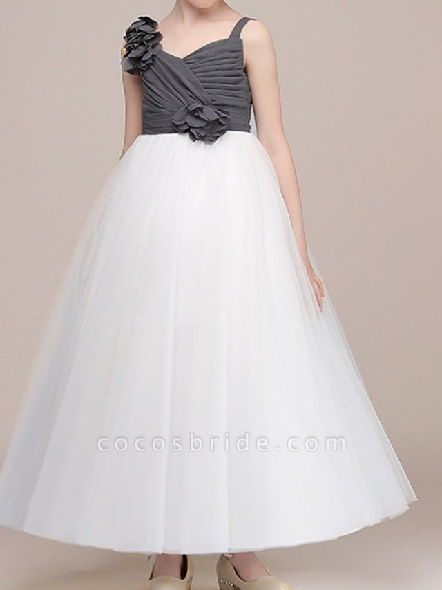 Ball Gown Floor Length Pageant Flower Girl Dresses - Polyester Sleeveless Spaghetti Strap With Color Block