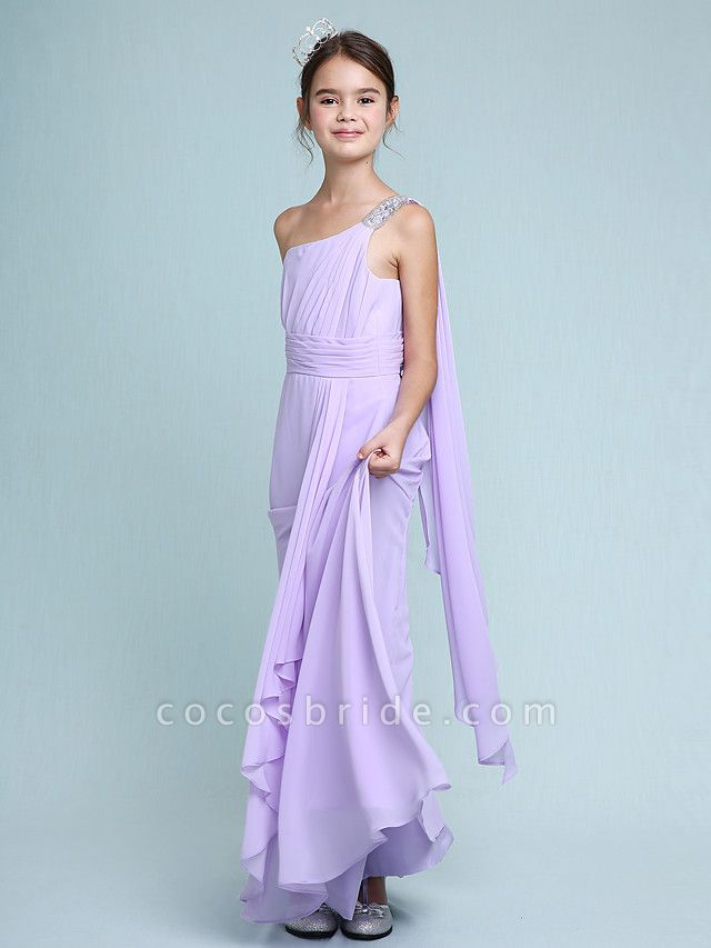 Sheath / Column One Shoulder Floor Length Chiffon Junior Bridesmaid Dress With Ruched / Beading / Side Draping / Natural