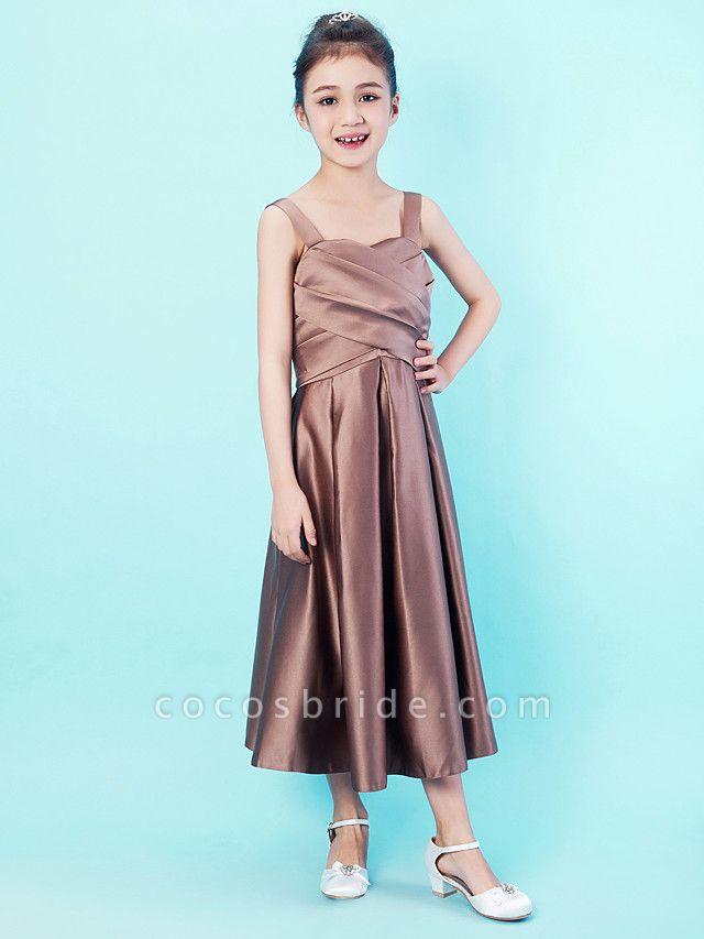 Princess / A-Line Straps / Sweetheart Neckline Tea Length Satin Junior Bridesmaid Dress With Criss Cross / Draping / Spring / Summer / Fall / Apple / Hourglass