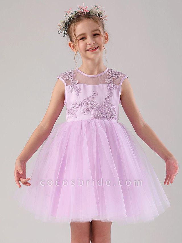 Princess / Ball Gown Medium Length Wedding / Birthday Flower Girl Dresses - Satin / Tulle Sleeveless Jewel Neck With Beading / Appliques / Solid