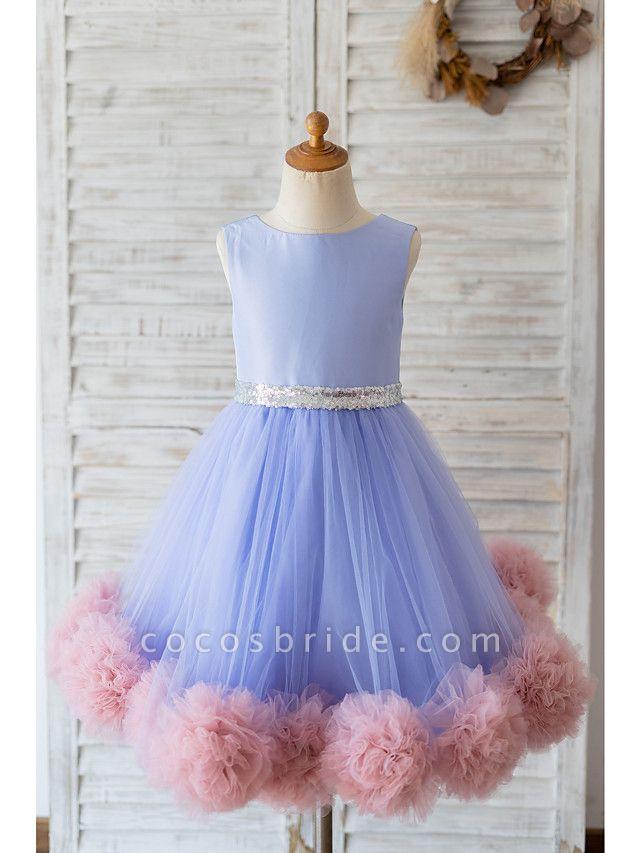 Ball Gown Knee Length Wedding / Birthday Flower Girl Dresses - Satin / Tulle Sleeveless Jewel Neck With Belt / Ruffles
