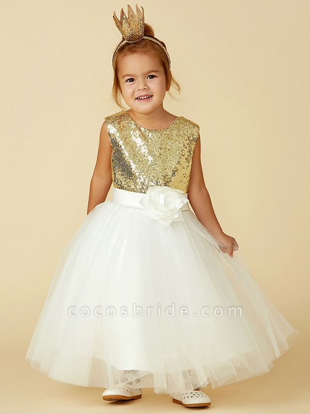 Princess Knee Length Pageant Flower Girl Dresses - Tulle / Sequined Sleeveless Jewel Neck With Sash / Ribbon / Bow(S) / Flower