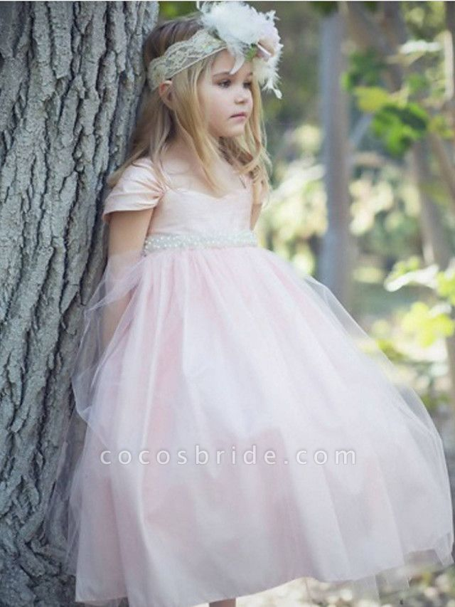 Ball Gown Floor Length Wedding / Party Flower Girl Dresses - Satin / Taffeta / Tulle Short Sleeve Scoop Neck With Bow(S) / Solid