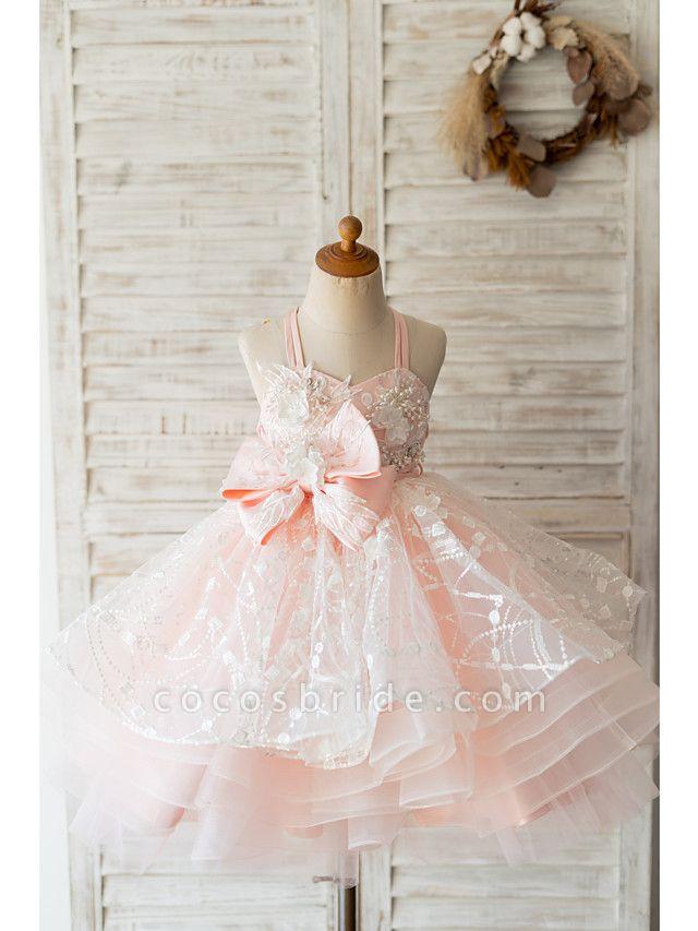 Ball Gown Knee Length Wedding / Birthday Flower Girl Dresses - Tulle Sleeveless Spaghetti Strap With Bow(S) / Pearls / Flower
