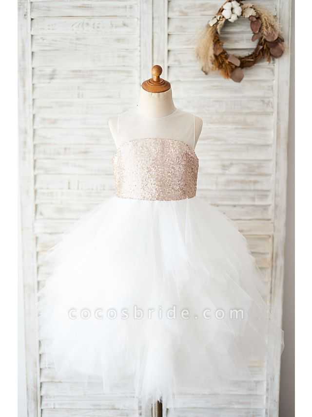 Ball Gown Knee Length Wedding / Birthday Flower Girl Dresses - Tulle / Sequined Sleeveless Jewel Neck With Tiered