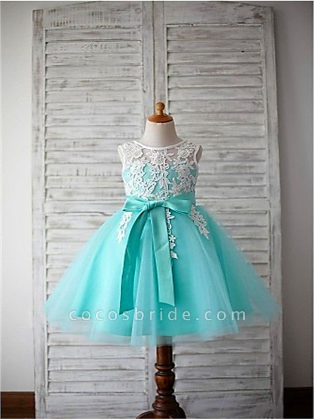 A-Line Knee Length Wedding / First Communion / Pageant Flower Girl Dresses - Lace / Satin / Tulle Sleeveless Jewel Neck With Appliques