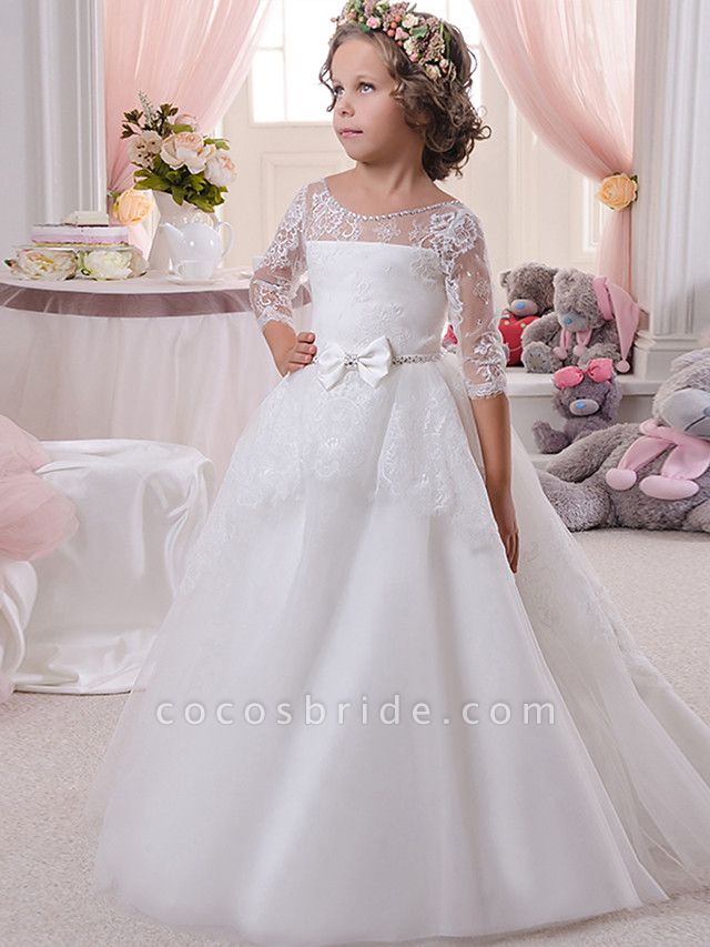 Ball Gown Sweep / Brush Train Wedding / Birthday / First Communion Flower Girl Dresses - Lace / Tulle / Cotton 3/4 Length Sleeve Scoop Neck With Lace / Embroidery / Crystals / Rhinestones