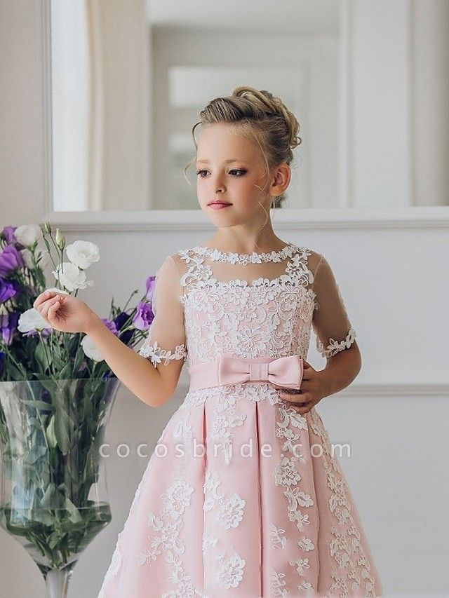 Princess / Ball Gown Knee Length Wedding / Party Flower Girl Dresses - Lace Short Sleeve Jewel Neck With Bow(S) / Appliques