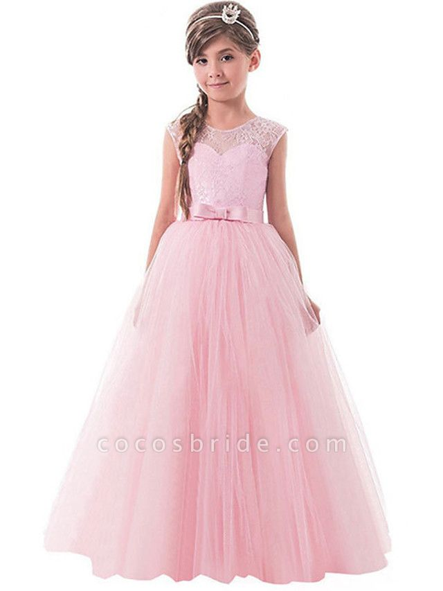 Ball Gown Floor Length Wedding / Party Flower Girl Dresses - Tulle Sleeveless Jewel Neck With Bow(S) / Solid