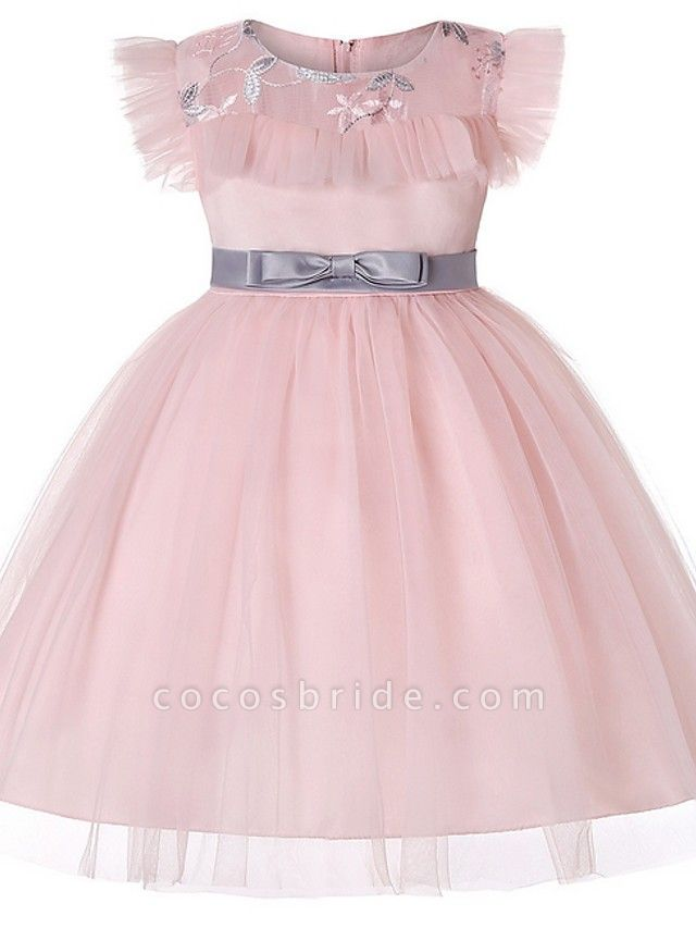 Princess / Ball Gown Floor Length Wedding / Party Flower Girl Dresses - Tulle Short Sleeve Jewel Neck With Sash / Ribbon / Bow(S) / Embroidery