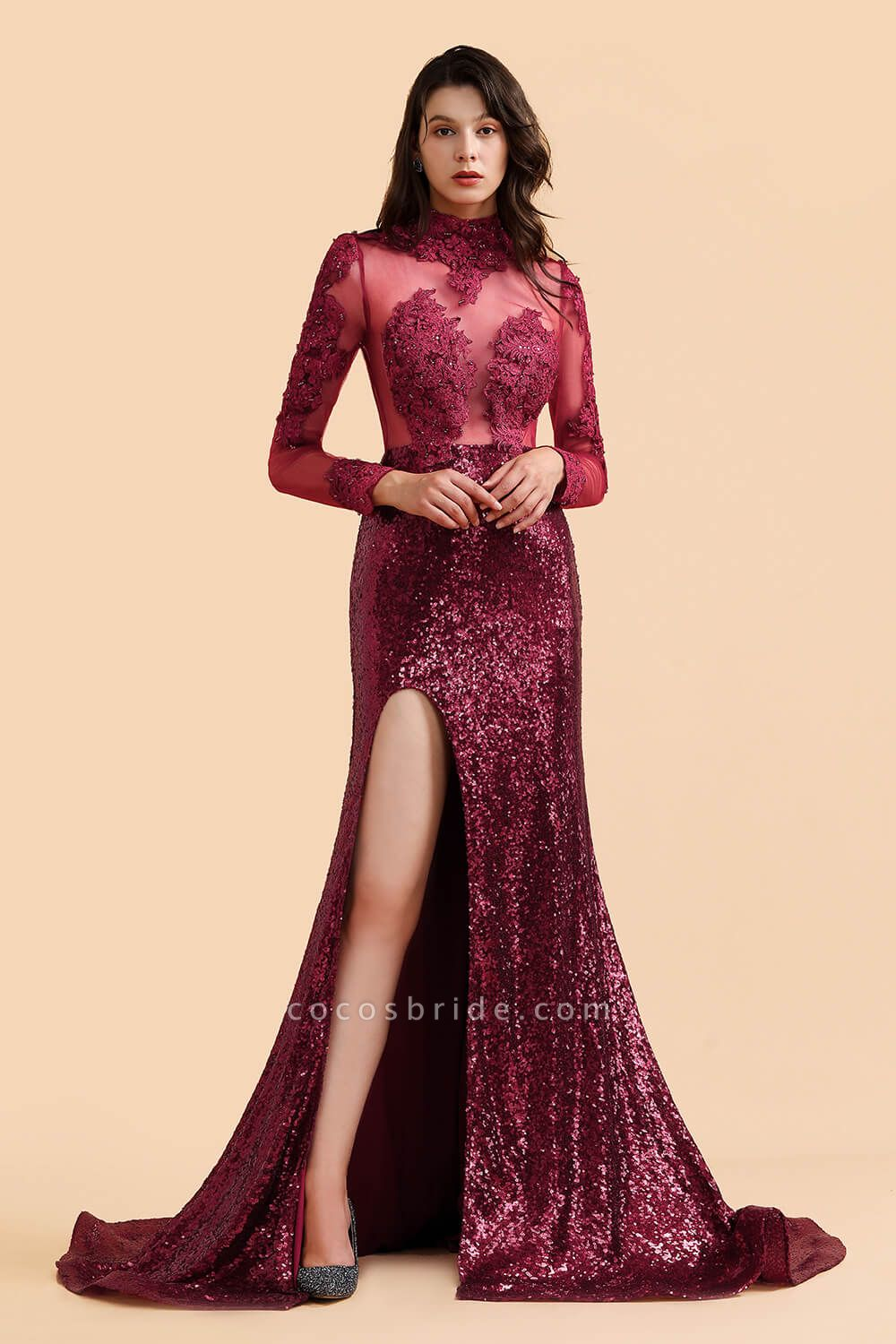 Burgundy Modern High Neck Sexy Split Open back Prom Dress