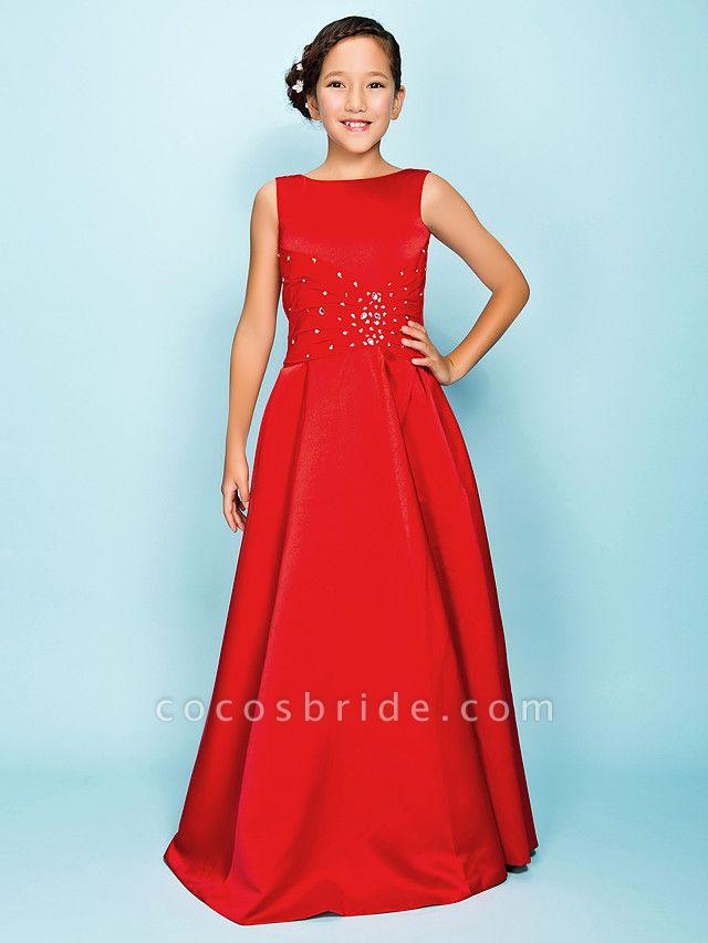 Princess / A-Line Bateau Neck Floor Length Satin Junior Bridesmaid Dress With Criss Cross / Beading / Draping / Spring / Summer / Fall / Apple / Hourglass