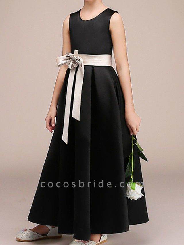 A-Line Ankle Length Pageant Flower Girl Dresses - Polyester Sleeveless Jewel Neck With Bow(S)